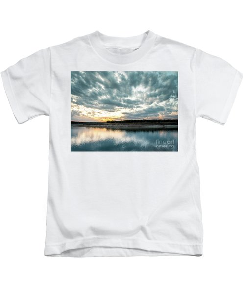 Sunset Behind Small Hill With Storm Clouds In The Sky Kids T-Shirt