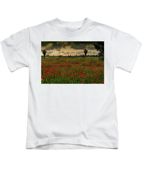 Sunset On A Poppies Field Kids T-Shirt