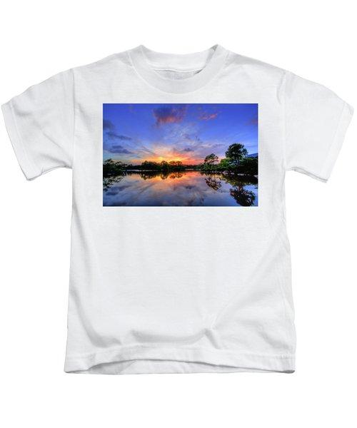 Sunset Over The Japanese Garden Kids T-Shirt