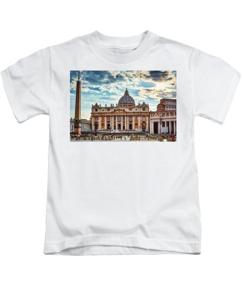 Sunset Over The Papal Basilica Of Saint Peter Kids T-Shirt