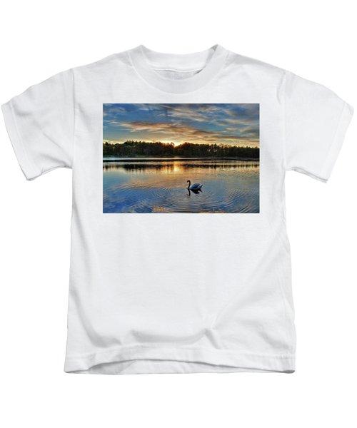 Swan At Sunset Kids T-Shirt