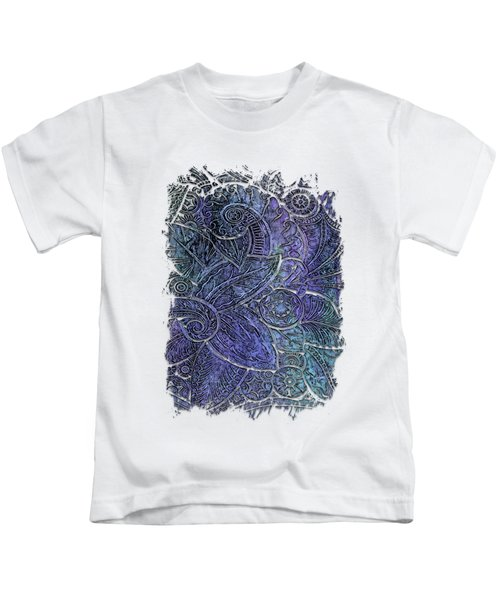 Swan Dance Berry Blues 3 Dimensional Kids T-Shirt by Di Designs