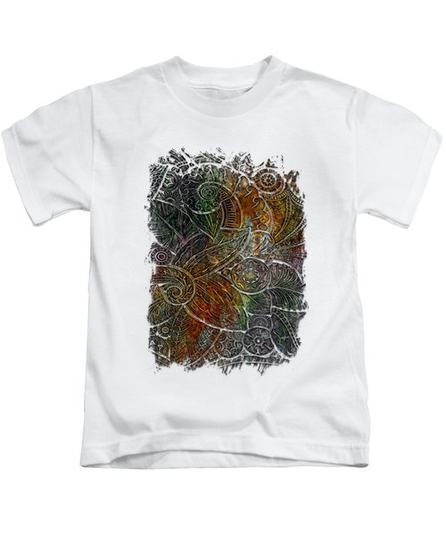 Swan Dance Muted Rainbow 3 Dimensional Kids T-Shirt by Di Designs