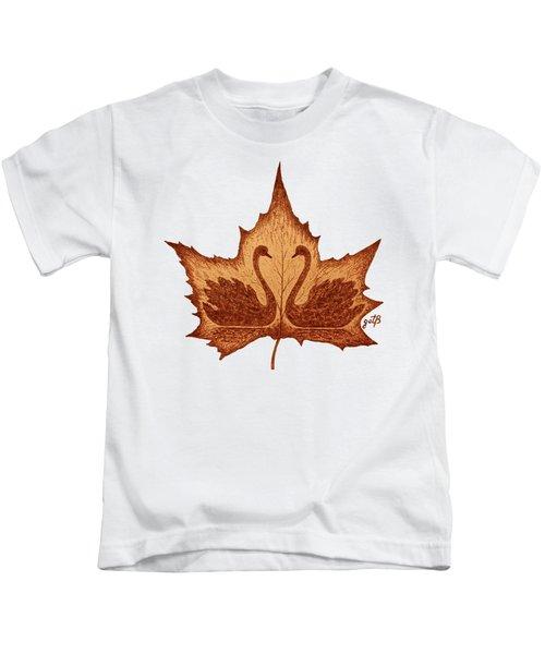 Swans Love On Maple Leaf Original Coffee Painting Kids T-Shirt by Georgeta Blanaru