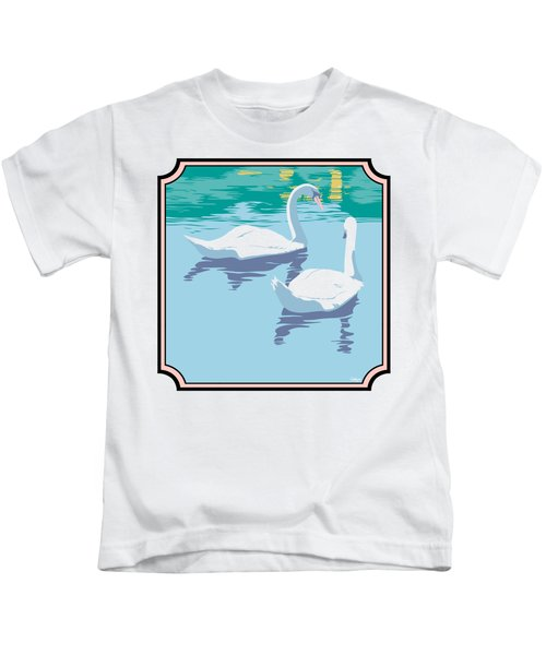 Swans On The Lake And Reflections Absract - Square Format Kids T-Shirt by Walt Curlee