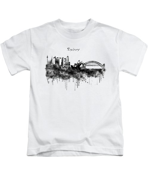 Sydney Black And White Watercolor Skyline Kids T-Shirt by Marian Voicu