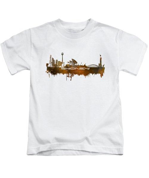 Sydney Skyline City Brown Kids T-Shirt by Justyna JBJart