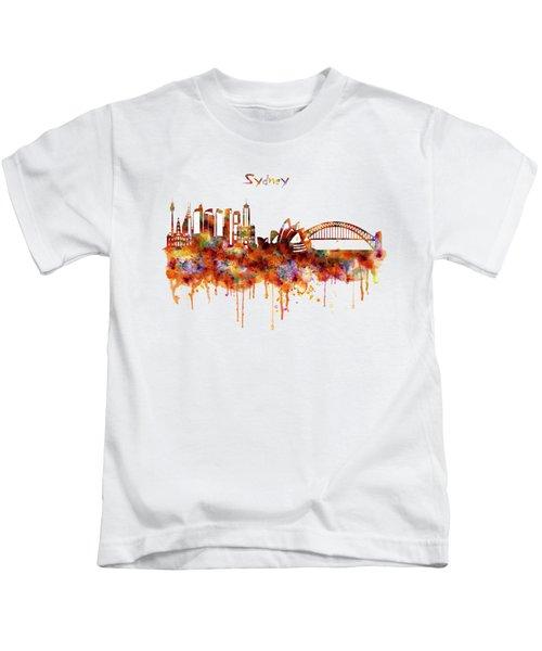 Sydney Watercolor Skyline Kids T-Shirt