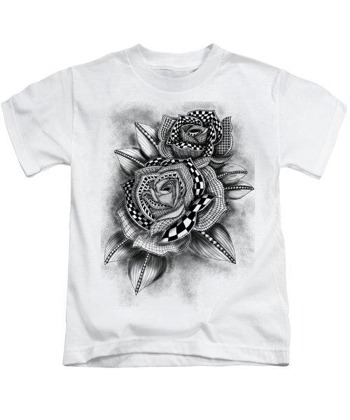 Tattoo Rose Greyscale Kids T-Shirt