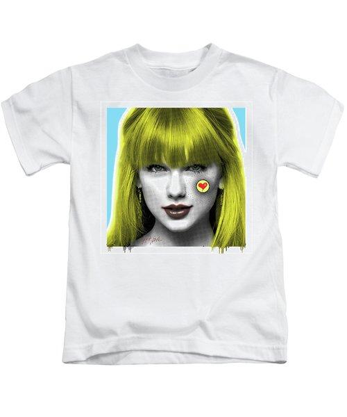 Taylor Swift, Pop Art, Portrait, Contemporary Art On Canvas, Famous Celebrities Kids T-Shirt by Dr Eight Love