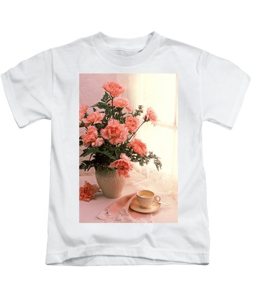 Tea Cup With Pink Carnations Kids T-Shirt