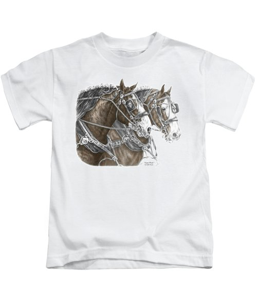 Team Work - Clydesdale Draft Horse Print Color Tinted Kids T-Shirt