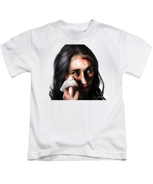 Tearful Woman With Injuries Kids T-Shirt