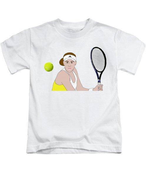 Tennis Ball Focus Kids T-Shirt by Priscilla Wolfe