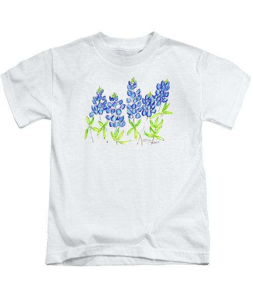 Texas Bluebonnets Watercolor Painting By Kmcelwaine Kids T-Shirt
