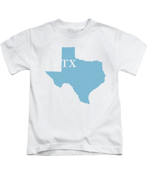 Texas State Map With Text Of Constitution Kids T-Shirt