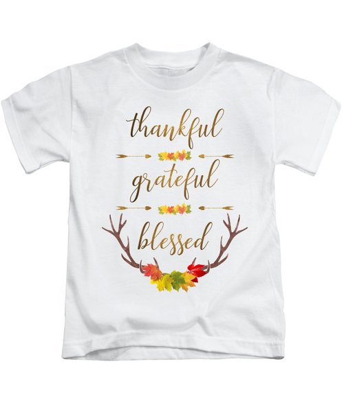 Thankful Grateful Blessed Fall Leaves Antlers Kids T-Shirt