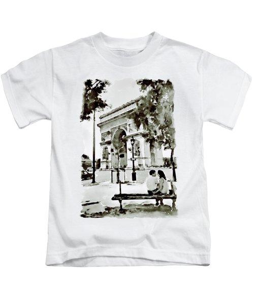 The Arc De Triomphe Paris Black And White Kids T-Shirt