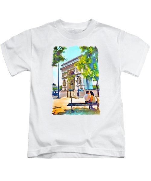The Arc De Triomphe Paris Kids T-Shirt by Marian Voicu
