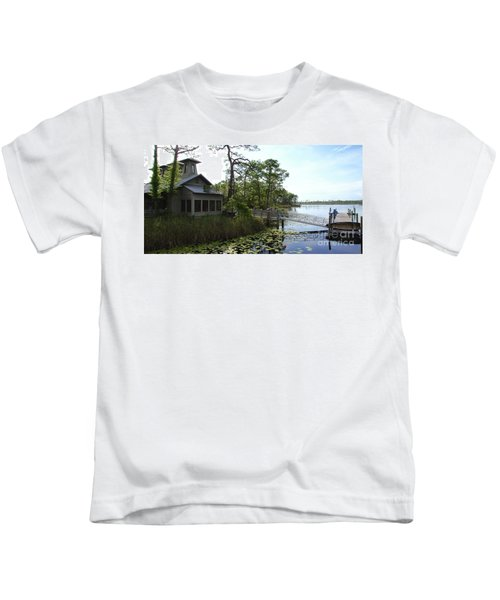 The Boathouse At Watercolor Kids T-Shirt by Megan Cohen