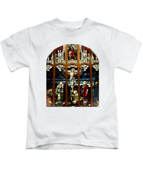 The Crucifixion Of Jesus On Good Friday Stained Glass Window Kids T-Shirt
