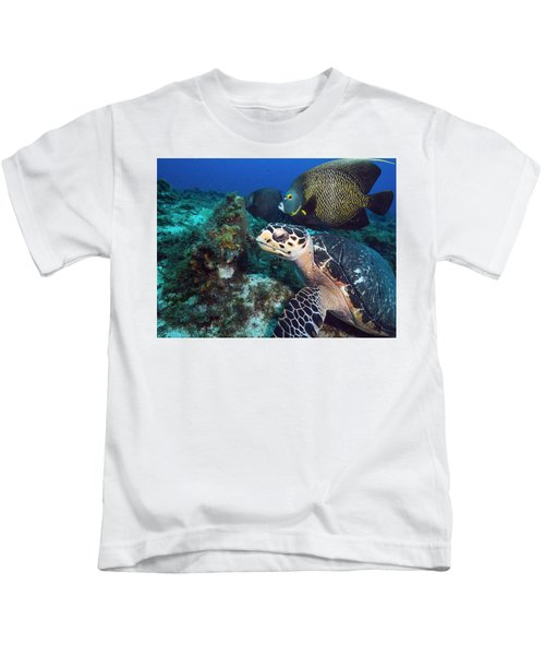The Green Turtle And The Angelfish Kids T-Shirt