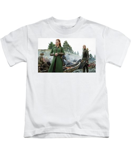 The Hobbit The Battle Of The Five Armies Evangeline Lilly Orlando Bloom Kids T-Shirt