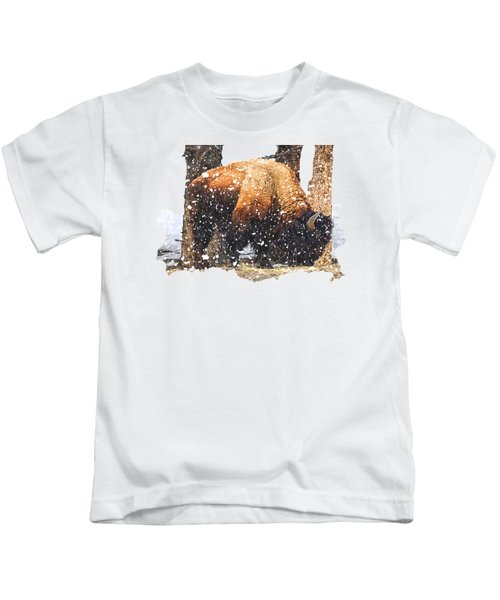The Majestic Bison Kids T-Shirt by Image Takers Photography LLC - Carol Haddon