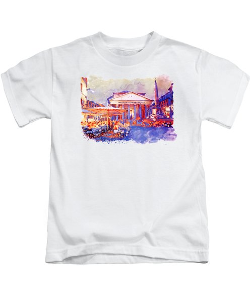 The Pantheon Rome Watercolor Streetscape Kids T-Shirt by Marian Voicu