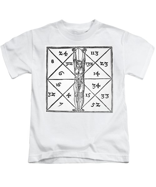 The Proportions Of Man And Their Occult Numbers From De Occulta Philosophia Libri IIi Kids T-Shirt