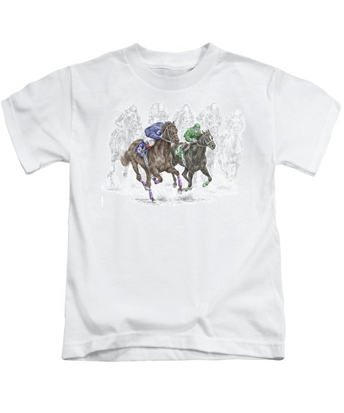 The Thunder Of Hooves - Horse Racing Print Color Kids T-Shirt