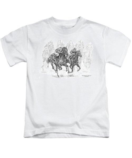 The Thunder Of Hooves - Horse Racing Print Kids T-Shirt