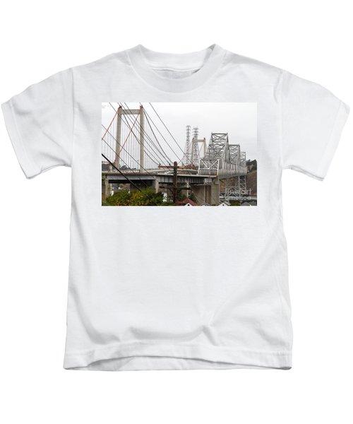 The Two Carquinez Bridges At Crockett And Vallejo California . Aka Alfred Zampa Memorial Bridge . 7d8919 Kids T-Shirt