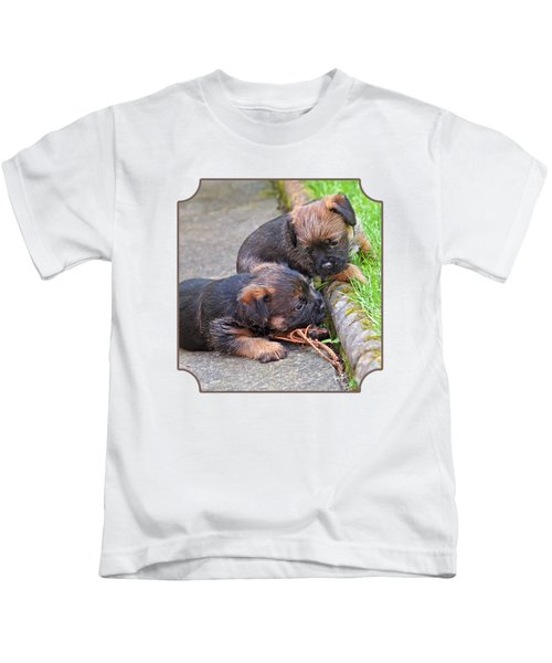 They Can Still See You - Border Terrier Puppies Kids T-Shirt