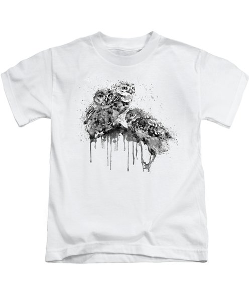 Three Cute Owls Black And White Kids T-Shirt