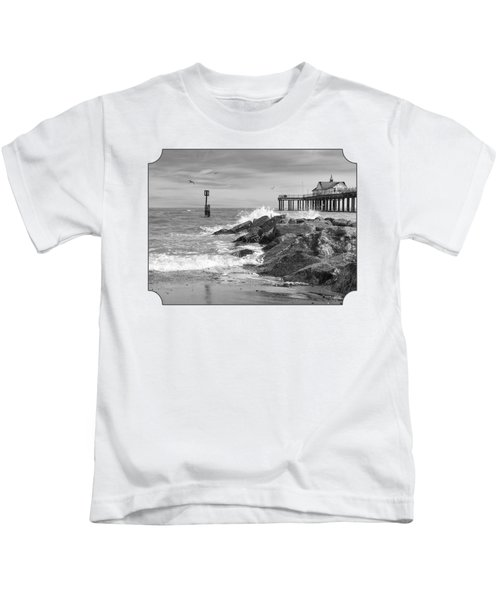 Tide's Turning - Black And White - Southwold Pier Kids T-Shirt by Gill Billington
