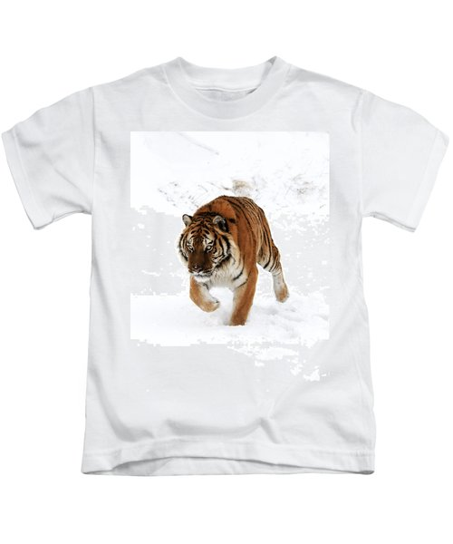 Tiger In Snow Kids T-Shirt