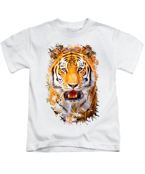 Tiger On The Hunt Kids T-Shirt