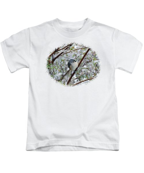 Titmouse On Snowy Branch Kids T-Shirt