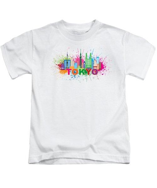 Tokyo City Skyline Paint Splatter Illustration Kids T-Shirt by Jit Lim