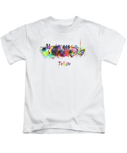 Tokyo V2 Skyline In Watercolor Kids T-Shirt
