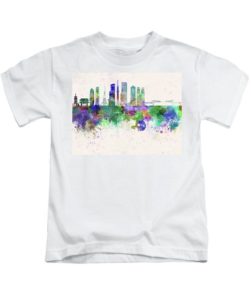 Tokyo V3 Skyline In Watercolor Background Kids T-Shirt by Pablo Romero