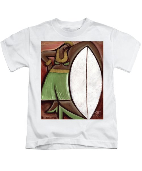 Tommervik Hula Girl Surfboard Art Print Kids T-Shirt
