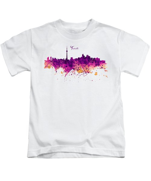 Toronto Watercolor Skyline Kids T-Shirt by Marian Voicu