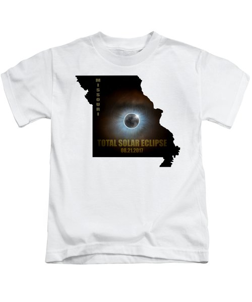 Total Solar Eclipse In Missouri Map Outline Kids T-Shirt