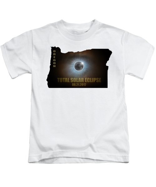 Total Solar Eclipse In Oregon Map Outline Kids T-Shirt