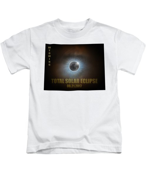 Total Solar Eclipse In Wyoming Map Outline Kids T-Shirt