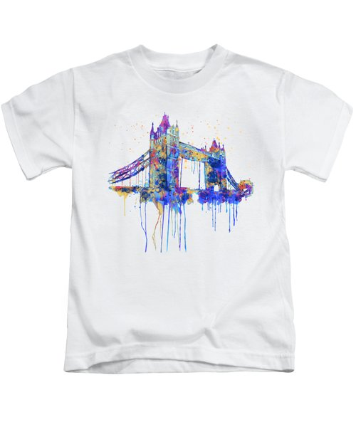 Tower Bridge Watercolor Kids T-Shirt by Marian Voicu