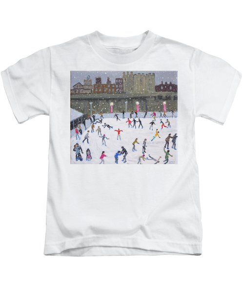 Tower Of London Ice Rink Kids T-Shirt by Andrew Macara