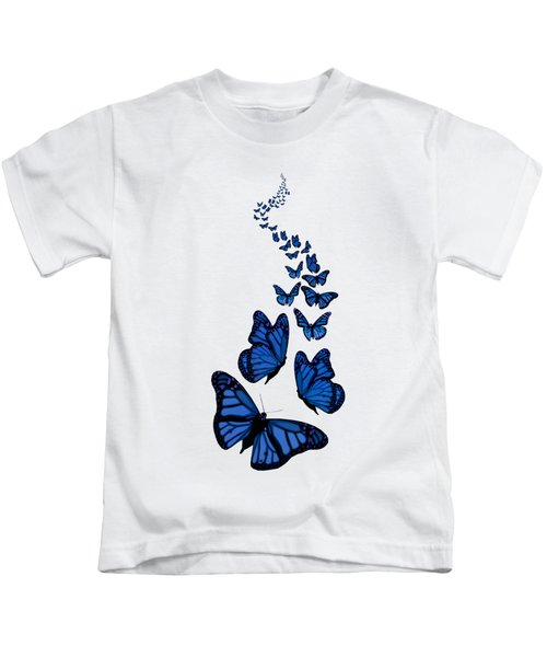 Trail Of The Blue Butterflies Transparent Background Kids T-Shirt